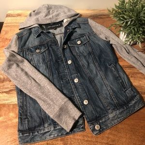 Express jean jacket with grey cloth sleeves